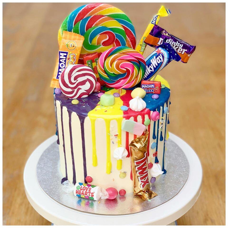 Sweets on Drip Chocolate Cake
