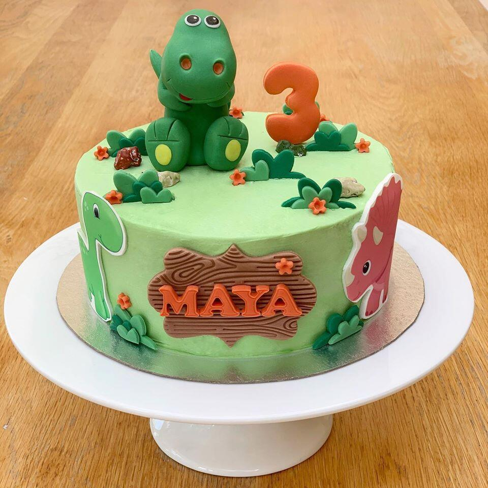Dinosaur Chocolate Cake with cream cheese buttercream