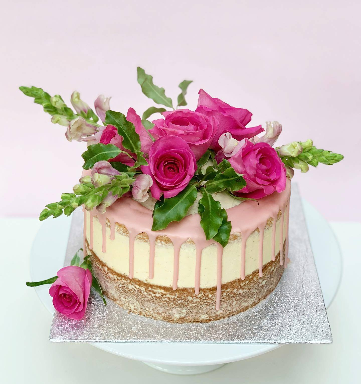 Semi Naked Cake with Beautiful Flowers