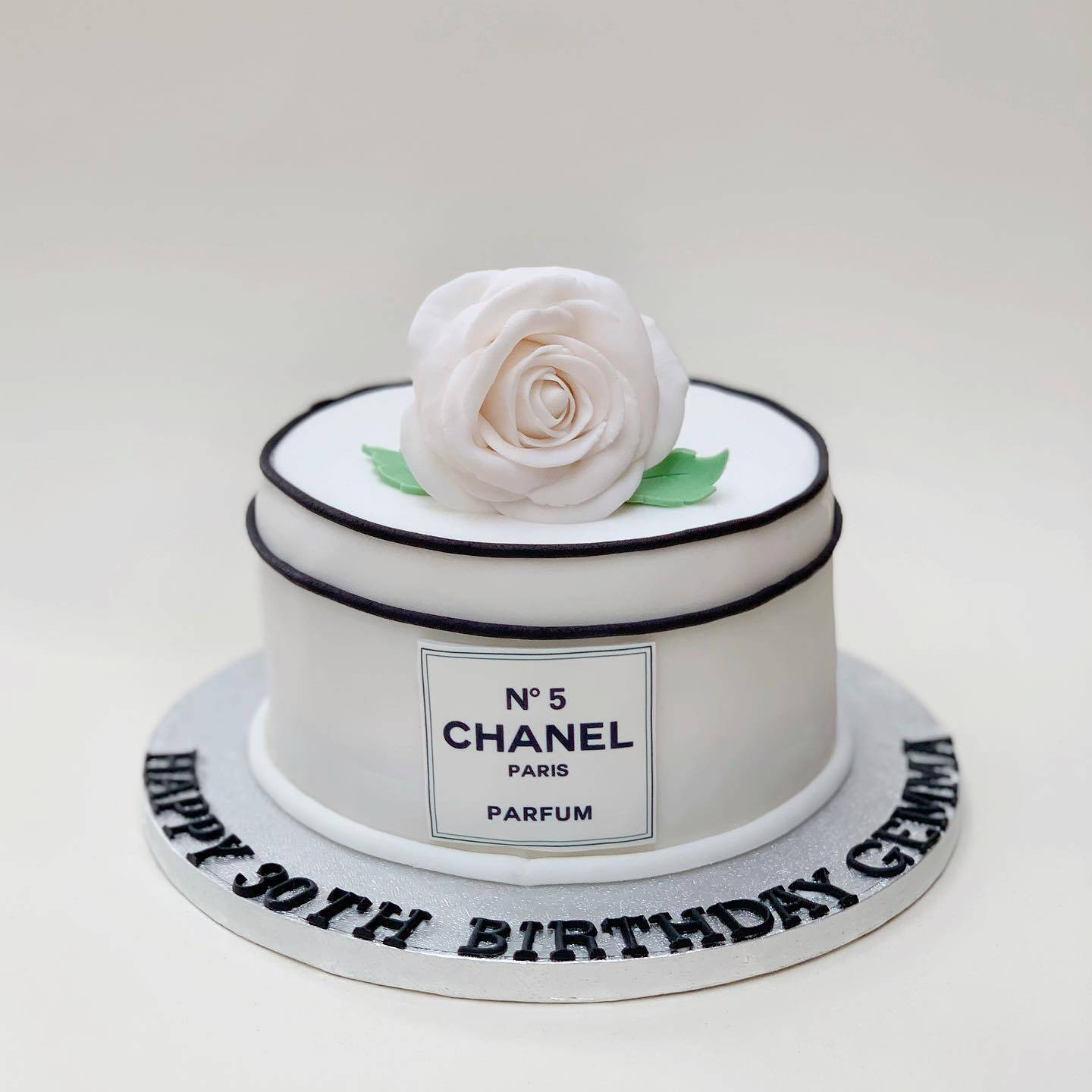 Bespoke Birthday cake with fondant rose and edible print