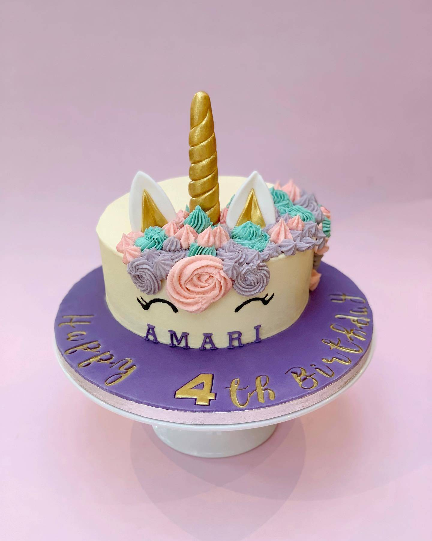 Unicorn with Embossed Cake Board Message
