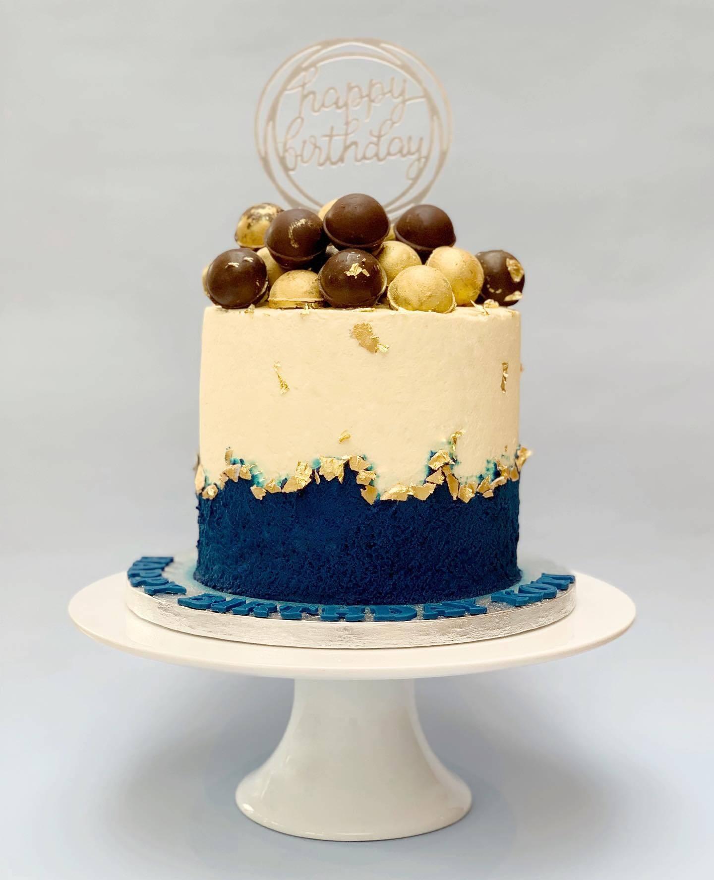 Fresh Cream Cake with Chocolates on Top